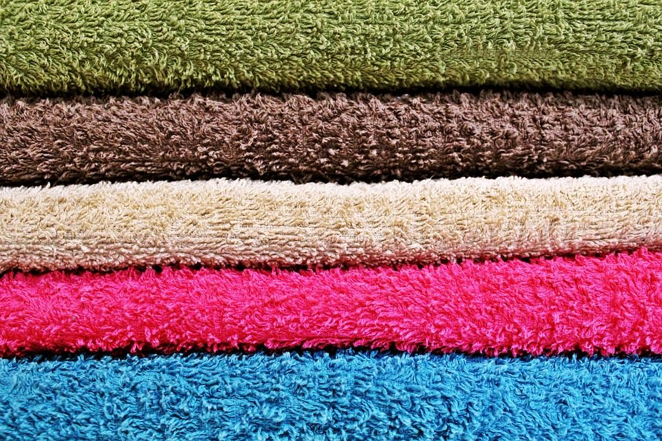 bale of colourful towels